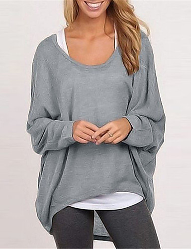 cheap Sports Athleisure-Women's Sweatshirt Pure Color Crew Neck Cotton Solid Color Sport Athleisure Pullover Long Sleeve Warm Soft Comfortable Everyday Use Daily General Use