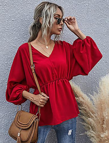 billige Topper til damer-Dame Bluse Skjorte Ensfarget Langermet Lapper V-hals Topper Grunnleggende Grunnleggende topp Rød