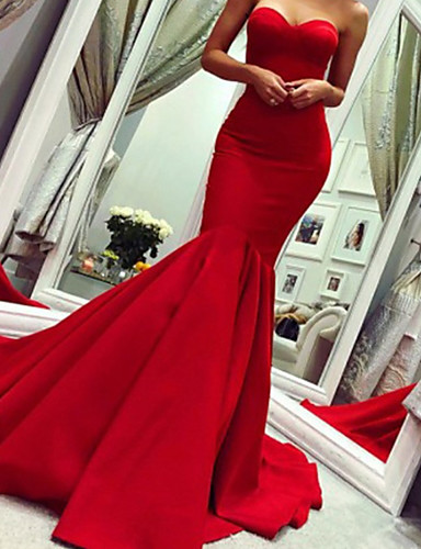 cheap Special Occasion Dresses-Mermaid / Trumpet Minimalist Sexy Wedding Guest Formal Evening Dress Strapless Sleeveless Court Train Satin with Pleats 2020