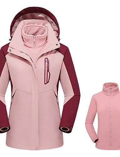 cheap Softshell, Fleece & Hiking Jackets-Women's Hiking 3-in-1 Jackets Winter Outdoor Solid Color Thermal / Warm Windproof Breathable Rain Waterproof 3-in-1 Jacket Winter Jacket Top Camping / Hiking Hunting Ski / Snowboard Purple / Red