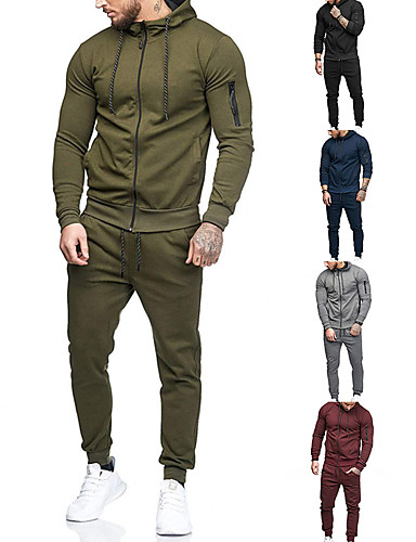 cheap Exercise, Fitness & Yoga Clothing-Men's 2-Piece Full Zip Tracksuit Sweatsuit Jogging Suit Long Sleeve Cotton Thermal Warm Breathable Quick Dry Fitness Gym Workout Running Active Training Bodybuilding Sportswear Solid Colored / Jacket