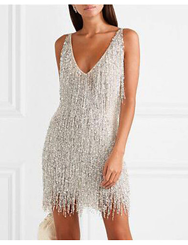 cheap Women's Dresses-Women's Sheath Dress Short Mini Dress - Sleeveless Solid Colored Backless Tassel Fringe Glitter Deep V Elegant Hot Sexy Going out Silver S M L XL XXL