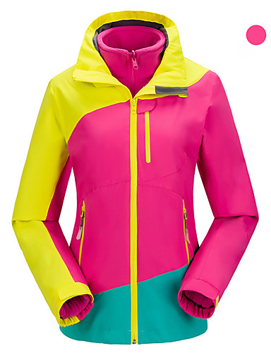 cheap Softshell, Fleece & Hiking Jackets-Women's Hiking 3-in-1 Jackets Hiking Jacket Winter Outdoor Patchwork Windproof Breathable Warm Comfortable Top Fleece Camping / Hiking Hunting Fishing Navy Blue / Fuchsia / Rose Red
