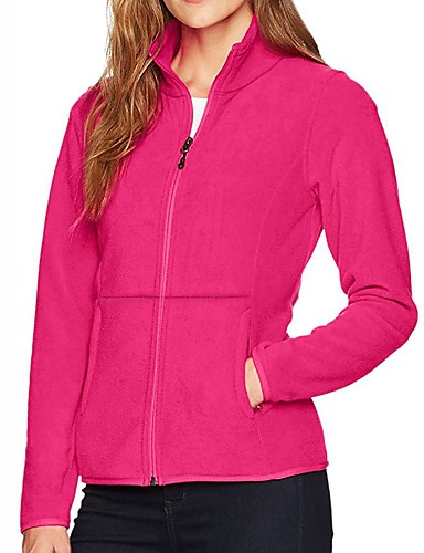 cheap Softshell, Fleece & Hiking Jackets-Women's Hiking Jacket Hiking Fleece Jacket Winter Outdoor Solid Color Thermal / Warm Windproof Breathable Warm Jacket Winter Fleece Jacket Top Fleece Single Slider Camping / Hiking Hunting Ski