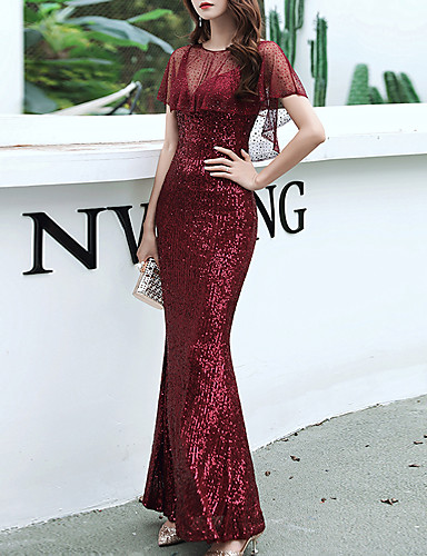 cheap Prom Dresses-Mermaid / Trumpet Sexy Sparkle Party Wear Prom Dress V Neck Half Sleeve Floor Length Sequined with Sequin 2020