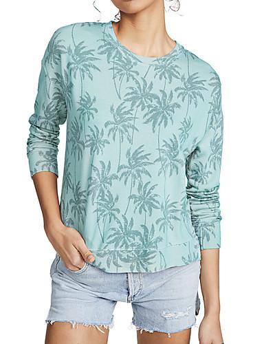 billige Topper til damer-Dame T-skjorte Blomstret Langermet Trykt mønster Rund hals Topper Grunnleggende Grunnleggende topp Blå Rosa Grønn