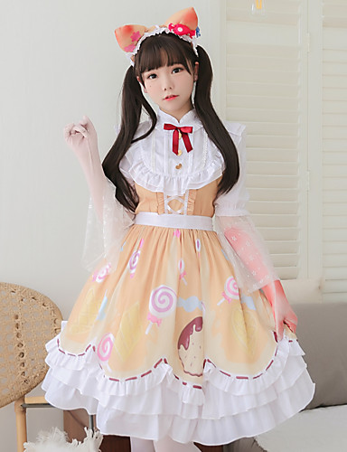 cheap Lolita Dresses-Lolita Gothic Style Sweet Lolita Princess Lolita Cosplay Costume Masquerade Costume Women's Girls' Japanese Cosplay Costumes Yellow Pattern Lolita Butterfly Sleeve Short Sleeve Knee Length / Dress