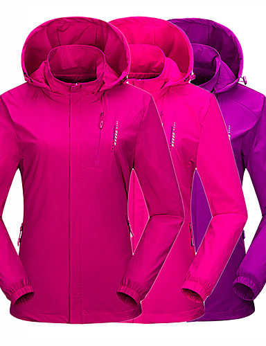 cheap Softshell, Fleece & Hiking Jackets-Wolfcavalry® Women's Hiking Jacket Hiking Windbreaker Winter Outdoor Solid Color Waterproof Windproof Breathable Warm Jacket Top Camping / Hiking Hunting Fishing Violet / Red / Fuchsia