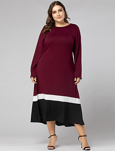cheap Plus Size Dresses-Women's Swing Dress Midi Dress - Long Sleeve Color Block Ruched Patchwork Spring Fall Casual Daily Weekend Loose 2020 Wine L XL XXL XXXL XXXXL