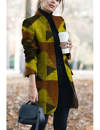 povoljno Pretprodaja-Žene Ruska kragna Jesen zima Kaput Dug Color block Dnevno Osnovni Bijela M L XL
