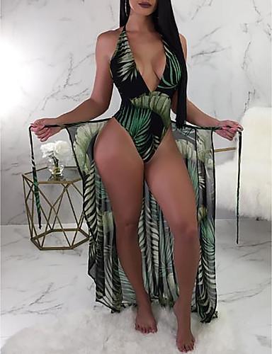 povoljno Ženske kupaće kostime-Žene Sexy Jednodijelno Kupaći kostim Slim Print Cvijetni print Presvlačenje dekoltea Kupaći kostimi Kupaći kostimi Djetelina