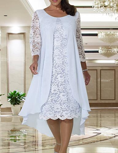 billige Kjoler til brudens mor-A-linje Kjole til brudens mor Elegant Høj halset Knælang Chiffon Blondelukning Langærmet med Blonde 2020