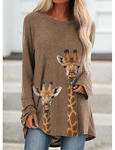 cheap New Arrivals-Women's Tunic Animal Graphic Prints Long Sleeve Print Round Neck Tops Basic Basic Top Khaki