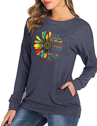 billige Topper til damer-Dame T-skjorte Blomstret Bokstaver Langermet Trykt mønster Rund hals Topper Bomull Grunnleggende Grunnleggende topp Svart Rosa Grønn