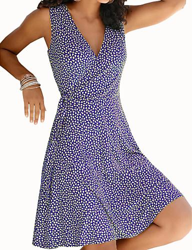 cheap Print Dresses-Women's A-Line Dress Knee Length Dress - Sleeveless Print Print Summer V Neck Casual Daily 2020 Black Blue Purple Yellow Wine Green S M L XL XXL XXXL XXXXL XXXXXL