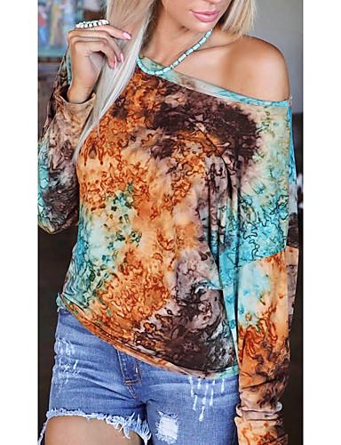 billige Topper til damer-Dame T-skjorte Batikkfarget Langermet Trykt mønster Rund hals Topper Bomull Grunnleggende Grunnleggende topp Brun