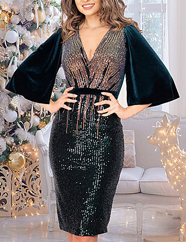 Party Dresses-Sheath / Column Glittering Sexy Party Wear Cocktail Party Dress V Neck Half Sleeve Knee Length Nylon with Sequin 2020
