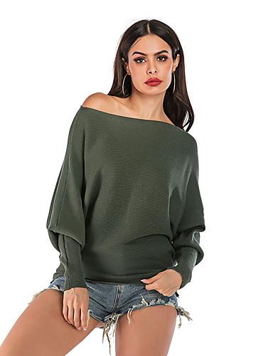 povoljno Ženski džemperi-Žene Osnovni Ispleten Jedna barva Pullover Dugih rukava Duks džemper Spuštena ramena Jesen Zima Vojska Green