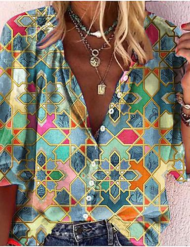 cheap Exclusives-Women's Blouse Shirt Abstract Long Sleeve Print V Neck Tops Basic Basic Top Blue Green