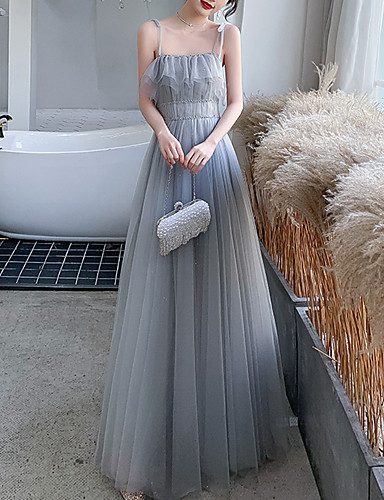 cheap Special Occasion Dresses-A-Line Elegant Glittering Wedding Guest Prom Dress Spaghetti Strap Sleeveless Floor Length Tulle with Sequin Ruffles 2020