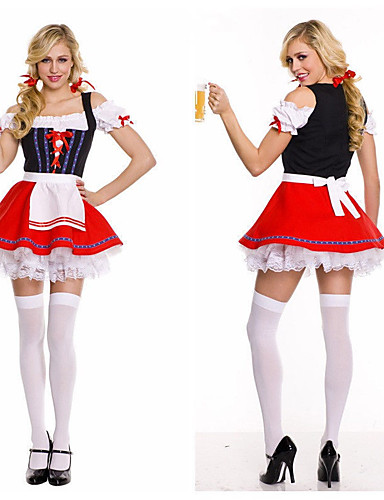 cheap Men's & Women's Halloween Costumes-Maid Costume Oktoberfest / Beer Cosplay Costume Outfits Adults' Women's Cosplay Vacation Dress Halloween Halloween Festival / Holiday Polyester Red Women's Easy Carnival Costumes / Apron / Apron