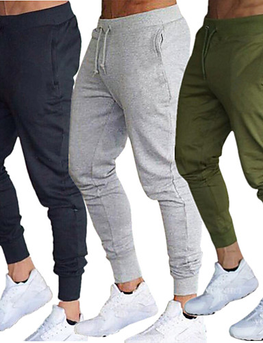 cheap Yoga Clothing-Men's Joggers Jogger Pants Track Pants Sweatpants Side Pockets Elastic Waistband Thermal / Warm Windproof Breathable Black Army Green Burgundy Cotton Fitness Gym Workout Running Sports Activewear