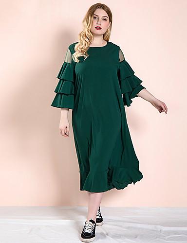 cheap Plus Size Dresses-Women's Swing Dress Midi Dress - Long Sleeve Solid Color Ruffle Mesh Spring Casual Daily Loose 2020 Green XL XXL XXXL XXXXL