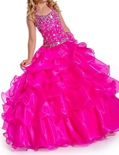 cheap Bridesmaid Dresses-Ball Gown V Neck Floor Length Organza Bridesmaid Dress with Tier
