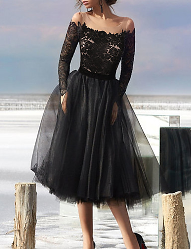 cheap Cocktail Dresses-A-Line Little Black Dress Vintage Homecoming Cocktail Party Dress Illusion Neck Long Sleeve Tea Length Tulle with Pleats Appliques 2020
