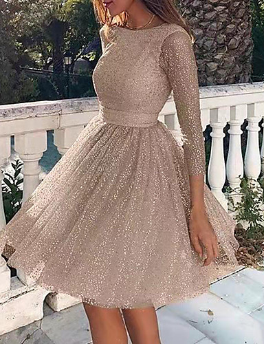 cheap Plus Size Dresses-Women's A-Line Dress Knee Length Dress - Long Sleeve Solid Color Backless Sequins Patchwork Fall Plus Size Hot Sexy Party 2020 Blushing Pink Silver Beige S M L XL