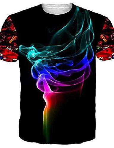cheap Women's T-shirts-unifaco unisex 3d pattern printed smoke short sleeve t-shirts top tees black s