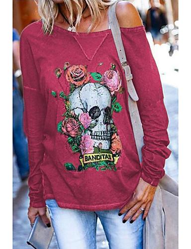 billige Topper til damer-Dame Halloween T-skjorte Blomstret Hodeskaller Blomsternål i krystall Langermet Trykt mønster Rund hals Topper Løstsittende Grunnleggende Halloween Grunnleggende topp Hvit Rød