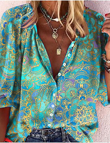 cheap Women's Tops-Women's Blouse Shirt Floral Abstract Flower Long Sleeve Print V Neck Tops Basic Basic Top Black Blue Green