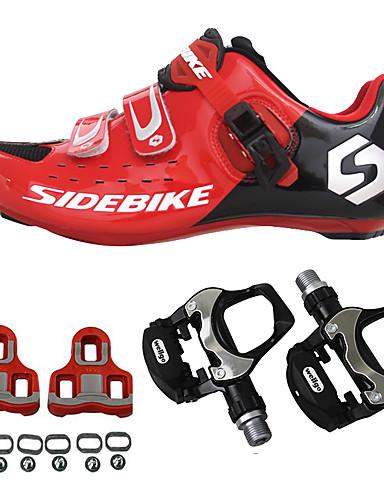 billige Sports 70%OFF-SIDEBIKE Voksne Cykelsko m. pedal og tåjern Sko til landevejscykling Kulstoffiber Dæmpning Cykling Rød Herre Cykelsko / Åndbar Blanding