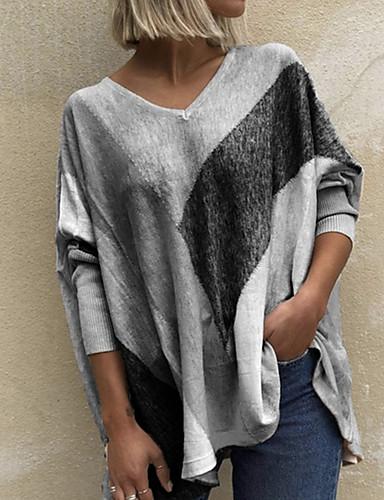 billige Topper til damer-Dame T-skjorte Fargeblokk Langermet Lapper Trykt mønster V-hals Topper Grunnleggende Grunnleggende topp Lilla Rød Oransje
