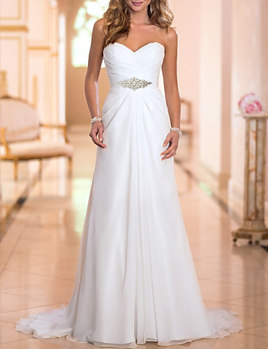 cheap Wedding Dresses-A-Line Wedding Dresses Strapless Sweep / Brush Train Chiffon Strapless Simple Backless with Crystals 2020