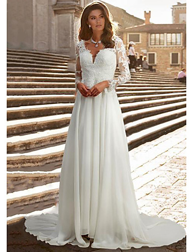 cheap Wedding Dresses-A-Line Wedding Dresses V Neck Chapel Train Chiffon Satin Long Sleeve Romantic Illusion Sleeve with Buttons Appliques 2020