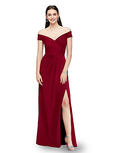 cheap Special Occasion Dresses-A-Line Elegant Sexy Party Wear Formal Evening Dress Off Shoulder Short Sleeve Floor Length Satin with Ruched Split 2020