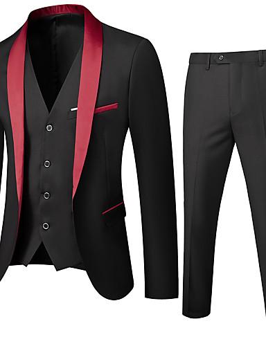 cheap Suit-Men's Shawl Lapel Suits Solid Colored Black / Red / Wine US32 / UK32 / EU40 / US34 / UK34 / EU42 / US36 / UK36 / EU44