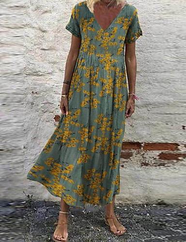 cheap Print Dresses-Women's Swing Dress Maxi long Dress - Short Sleeve Floral Print Print V Neck Casual Daily 2020 White Red Green Gray S M L XL XXL XXXL XXXXXL