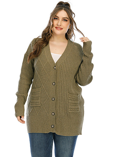 cheap Plus Size Collection-Women's Basic Knitted Solid Color Cardigan Long Sleeve Plus Size Sweater Cardigans V Neck Fall Winter Army Green