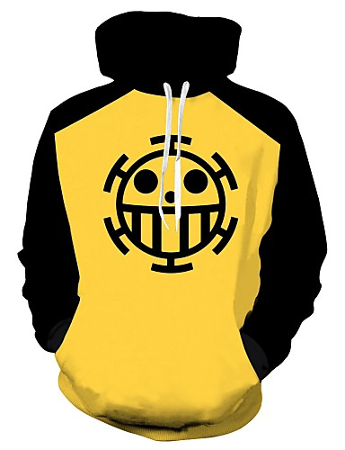 cheap Everyday Cosplay Anime Hoodies & T-Shirts-Inspired by One Piece Trafalgar Law Cotton Print Coat For Men's