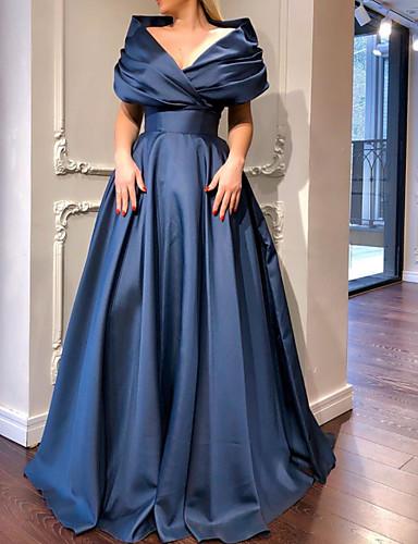 cheap Prom Dresses-A-Line Elegant Minimalist Engagement Prom Dress V Neck Short Sleeve Sweep / Brush Train Satin with Pleats 2020