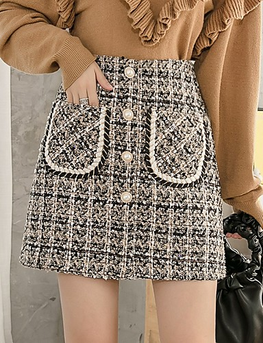 cheap Women's Skirts-Women's Casual / Daily Basic Mini Skirts Plaid Patchwork