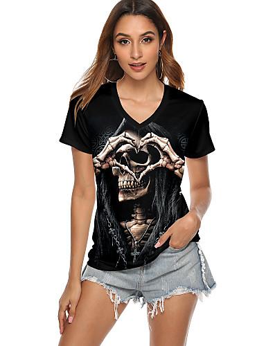 billige Topper til damer-Dame T-skjorte Grafiske trykk Hodeskaller Trykt mønster Rund hals Topper Grunnleggende Halloween Grunnleggende topp Svart