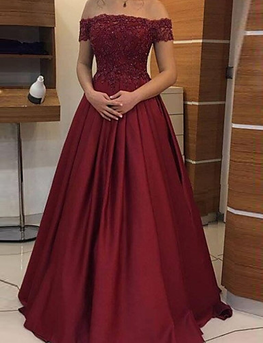 cheap Special Occasion Dresses-A-Line Minimalist Sexy Wedding Guest Formal Evening Dress Off Shoulder Sleeveless Floor Length Satin with Pleats 2020