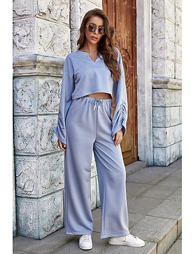 preiswerte Für Junge Frauen-Damen Zweiteiliges Set Grundlegend Kordelzug Bluse Hemd Oberteile Hose einstellen Volltonfarbe
