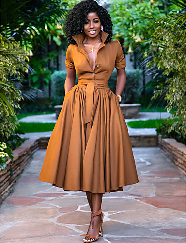 cheap Women's Dresses-Women's A-Line Dress Midi Dress - Half Sleeve Solid Color Button Summer Shirt Collar Casual Hot Holiday Loose 2020 Army Green Orange S M L XL