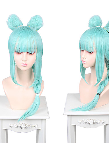 halpa Anime-peruukit-Cosplay Cosplay Cosplay-Peruukit Unisex Otsatukka 60 inch Heat Resistant Fiber Matte Sininen Aikuisten Anime peruukki