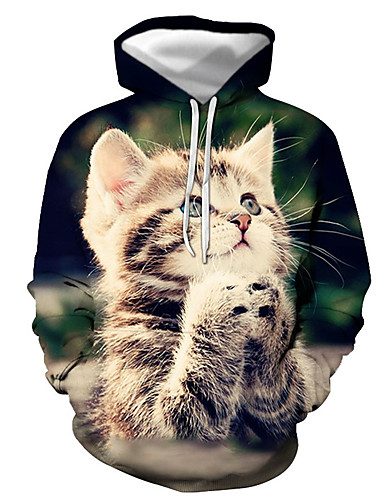 cheap Men's Clothing-Men's Pullover Hoodie Sweatshirt Graphic Animal Hooded Daily Going out 3D Print Basic Casual Hoodies Sweatshirts  Long Sleeve White